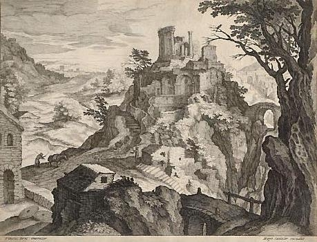 View of the Temple of the Sibyl at Tivoli (formerly called The Ruined Castle on the Mountain) image