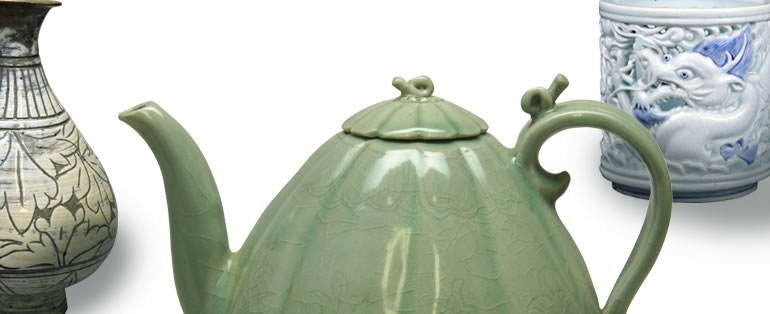 Details of a bottle with sgraffito design of peonies, Joseon dynasty, middle of 15th century, Buncheong ware; a melon-shaped ewer, Goryeo dynasty, 12th century, celadon; a brush holder with openwork dragon design, Joseon dynasty, 19th century, blue-and-white porcelain. image