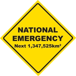 Chips Mackinolty National Emergency Next 1,347,525km 2007 Digital print 49.5 x 49.5cm  image