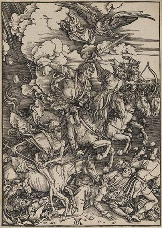 The Four Horsemen of the Apocalypse c.1497–98, from 'The Apocalypse', Latin edition, 1511 image