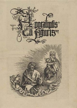 The Virgin Appearing to St John 1511, Title page from 'The Apocalypse', Latin edition 1511 image