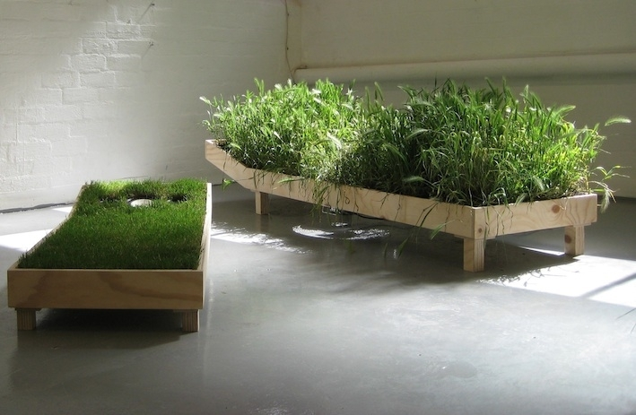 Sarah Moore, Lawn sound off 2010. Reclaimed timber, metal, earth, fan, speakers, turf. Dimensions variable image