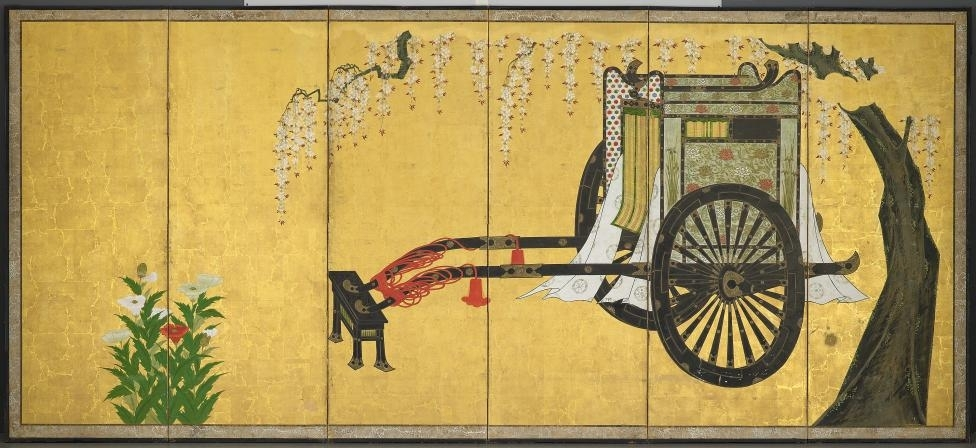 JAPANESE: Noble lady's carriage and a flower cart (early 18th century) image