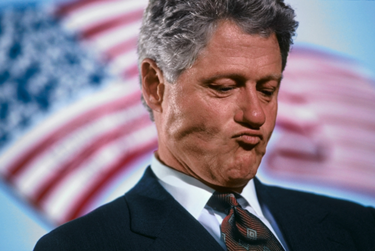Bill Clinton, during his reelection campaign, at event in Springfield,MA, 1996 image