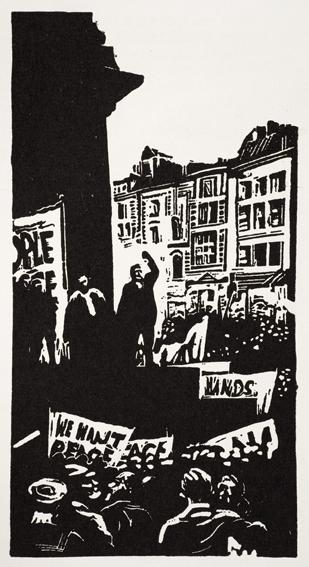 Image from War or Peace: Twelve linocuts Noel Counihan & Jack Lindsay, (Gryphon Books 1979).  image