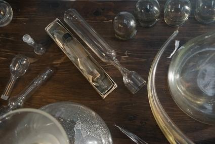 Wunderkammer 2013 (detail) 125 x 106 x 45cm Blown Glass, antique scientific glass, found object, antique cabinet Photograph: Andrew Barcham  image