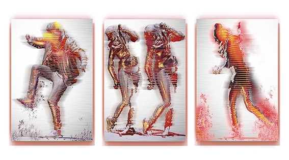 Alexander Boynes, Anima 1,2,3, 2014, pigment and enamel on aluminium, 120x80cm (each piece) image