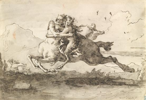 Centaur carrying off  a female faun image