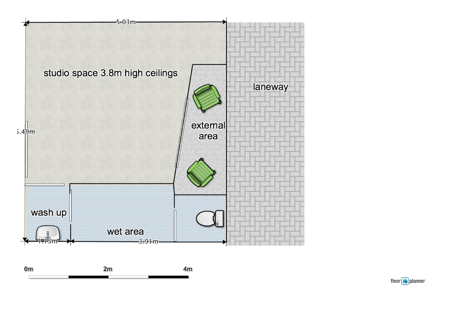 red gallery studio, floor plan image