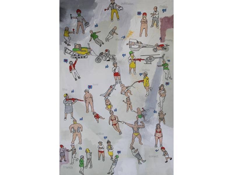 Eddie Botha, Dislike Like, 2014, markers on mixed media board, 152 x 101cm image