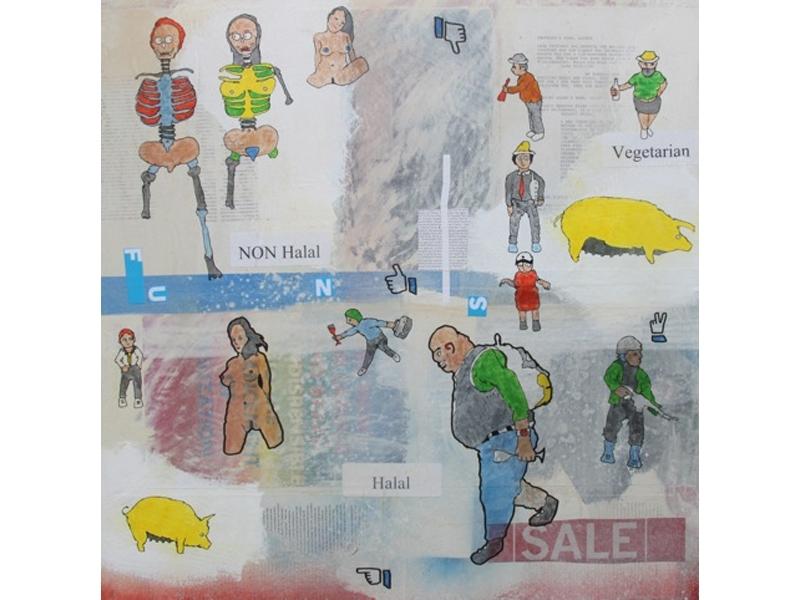 Eddie Botha, Media Mindset, 2014, marker on mixed media board, 61x61cm image