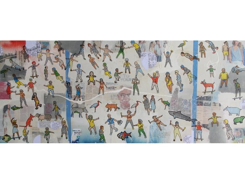 Eddie Botha, The Moving Image, 2014, marker on mixed media board, 87x204cm image