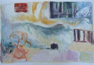 Kaye Shumack. Orange chair in the sun. 2014 image
