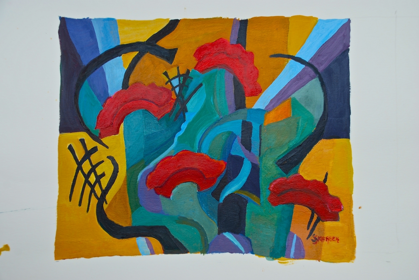 Sophie Skarbek, Geraniums, 2014, acrylic on paper, 28x23cm image