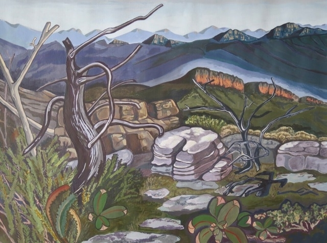 Myrna McRae, Grampians #1, 2014, acrylic on paper, 28x20cm image