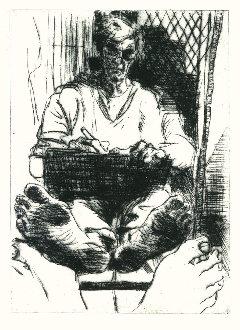 Richard Collins, Seated Self Portrait, 2014, dry point, 30 x 22cm image