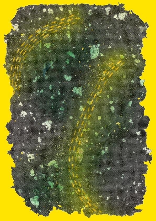 Cheralyn Lim, Trekker, 2015, Handmade paper, spray paint, acrylic paint.  image
