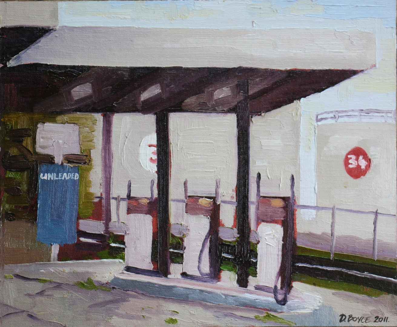 David Boyle, Unleaded in Spotswood, 2011, oil on linen board, 30x25cm image