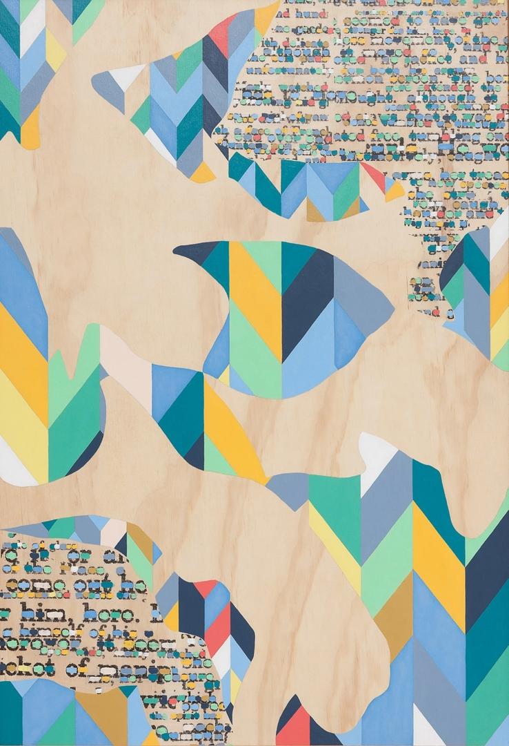 Claire Mooney, Slow Swarm, 2014, acrylic & photocopy transfer on plywood, 60x90cm image