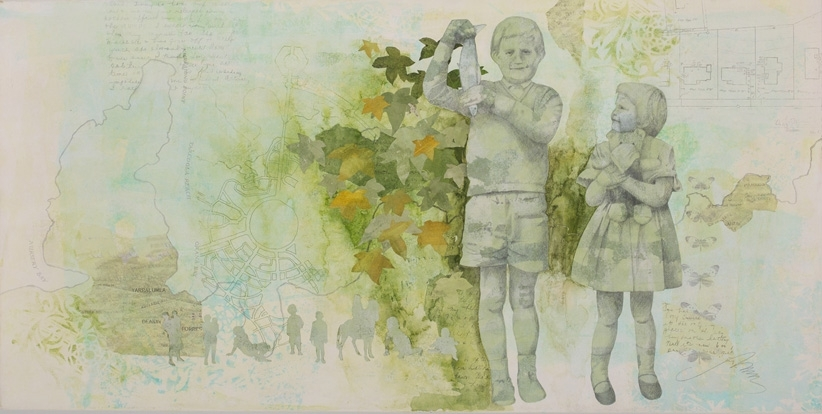 Elizabeth Faul, The Model Maker - Spring, 2014, mixed media collage, 46x92cm image