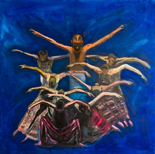 Raul Mariaca Dalence. Dance of Birds. Oil on Canvas. 39.5 x 39.5 image
