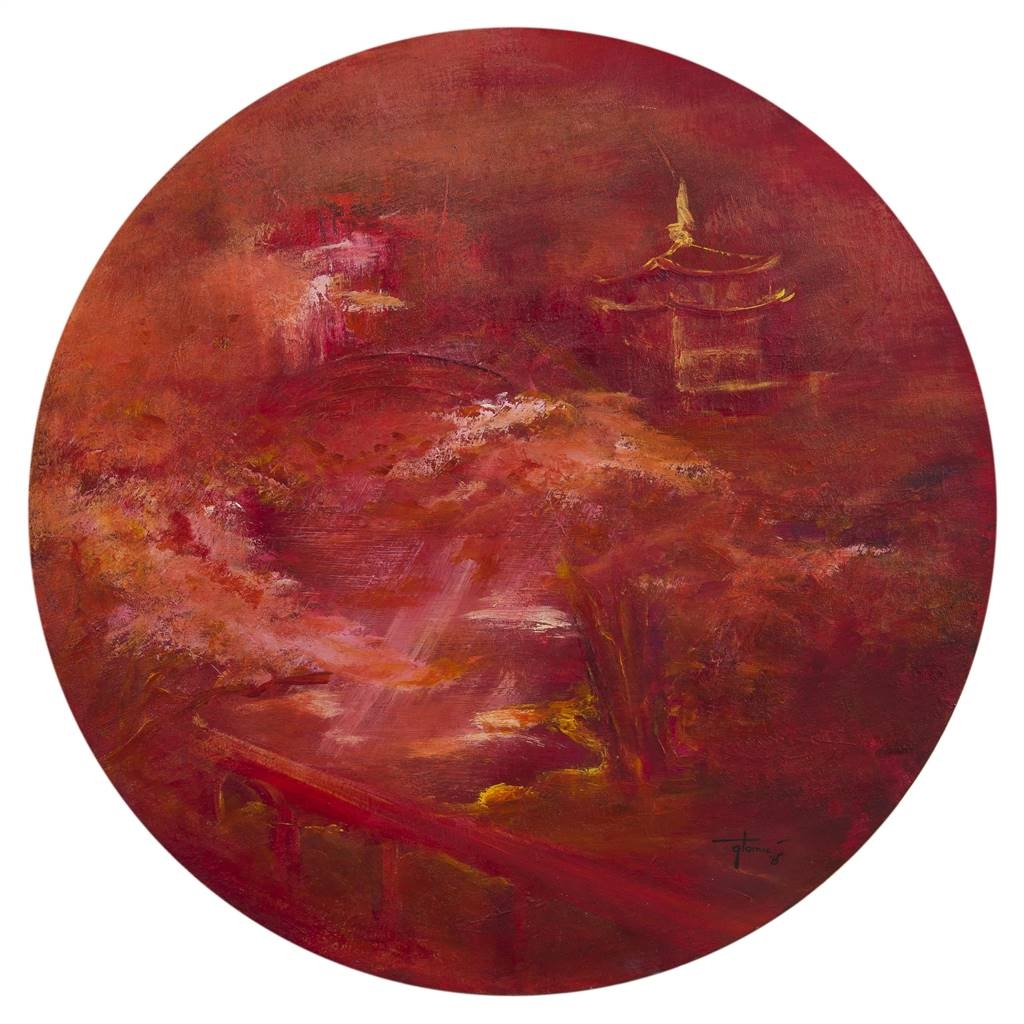Gordana Tomic. Japanese Garden. Oil & Acrylic on Canvas. 29.5 x 29.5 image