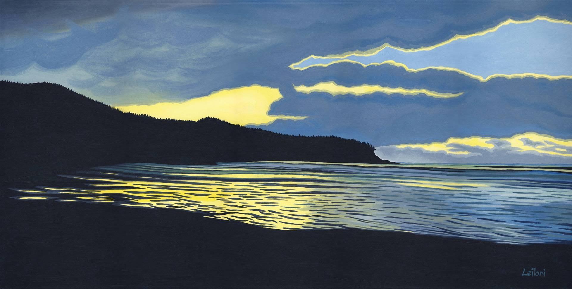 Leilani, Cox Bay Reflections, Acrylic on Canvas, 18x36 image