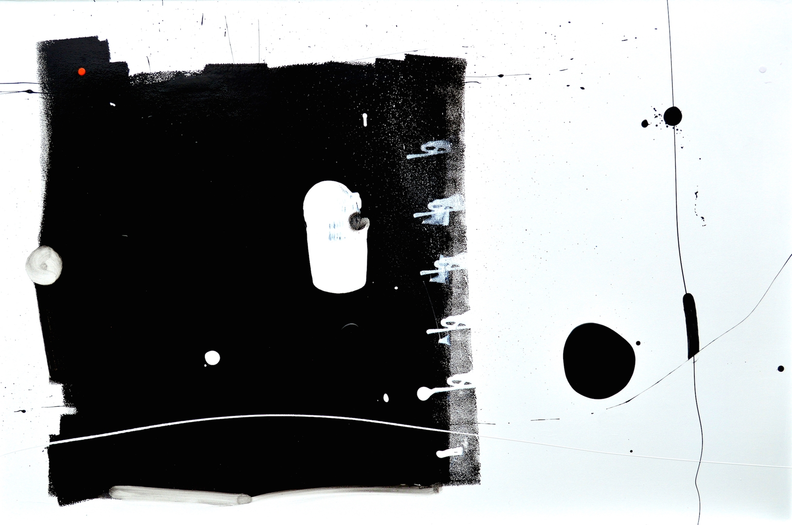 Curious Big Black Square Running Away from Black Blob Over There Painting image