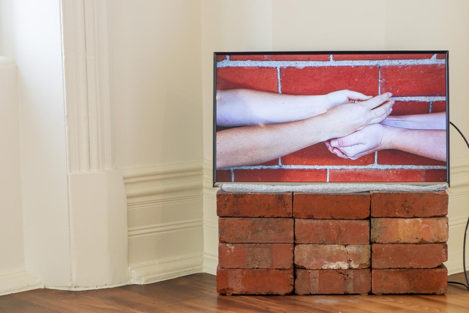 Installation Detail, 'Transfer of Gold' video work, Under Construction Exhibition, Bundoora Homestead Art Centre image