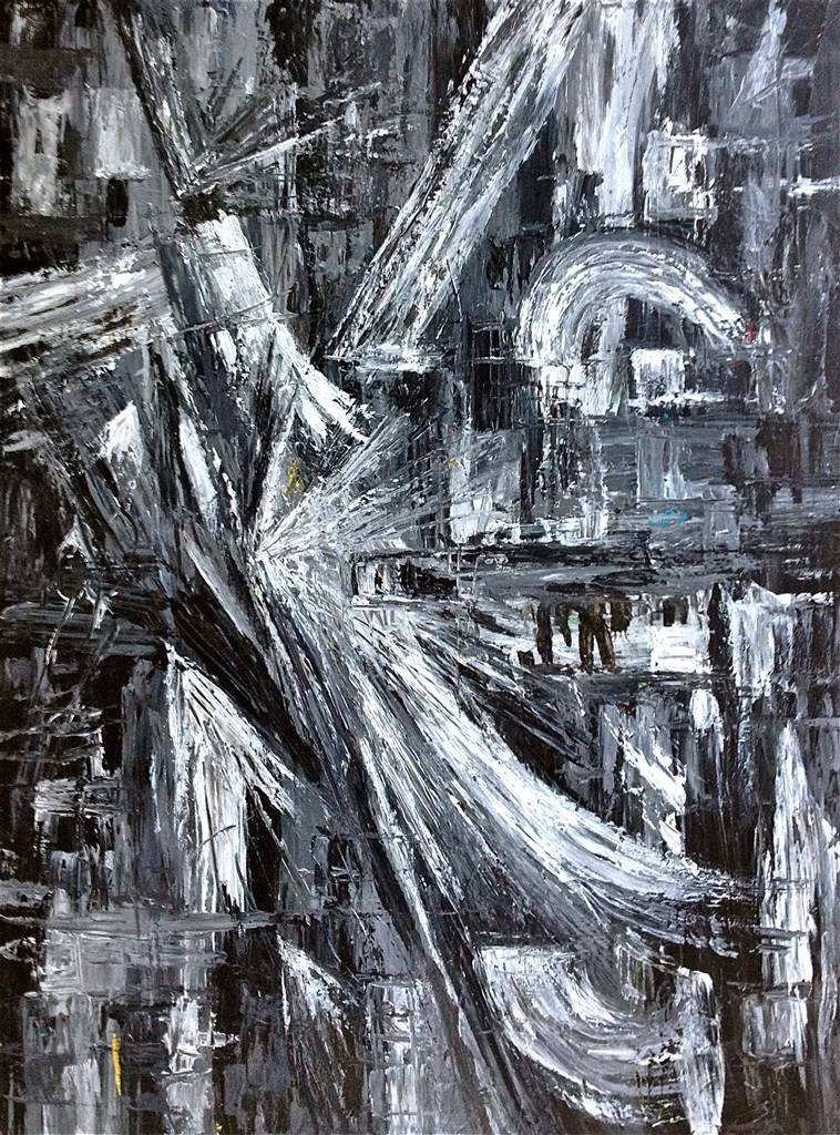 Erin Cooke, Texture Black and White III, Acrylic on Canvas, 40''x 30'' image