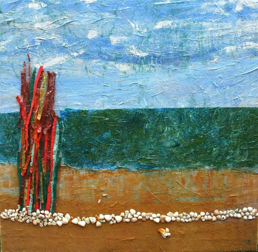 Trent Altman, A Sea View Shore, Acrylic _ Mixed Media on Canvas, 54'x 56' image