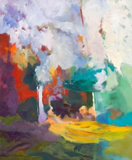 Carol Carpenter,  Abstract Trees I, Oil on Canvas, 24''x 20'' image