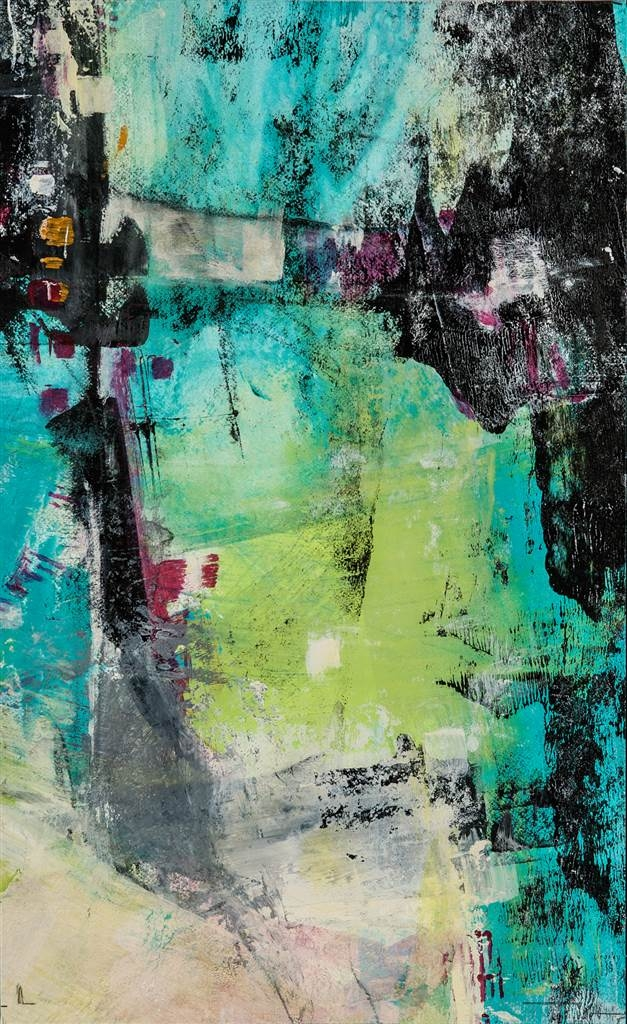 Sandra Mueller-Dick,Vision in Blue II,Mixed Media on Canvas,11.5''x 7'' image