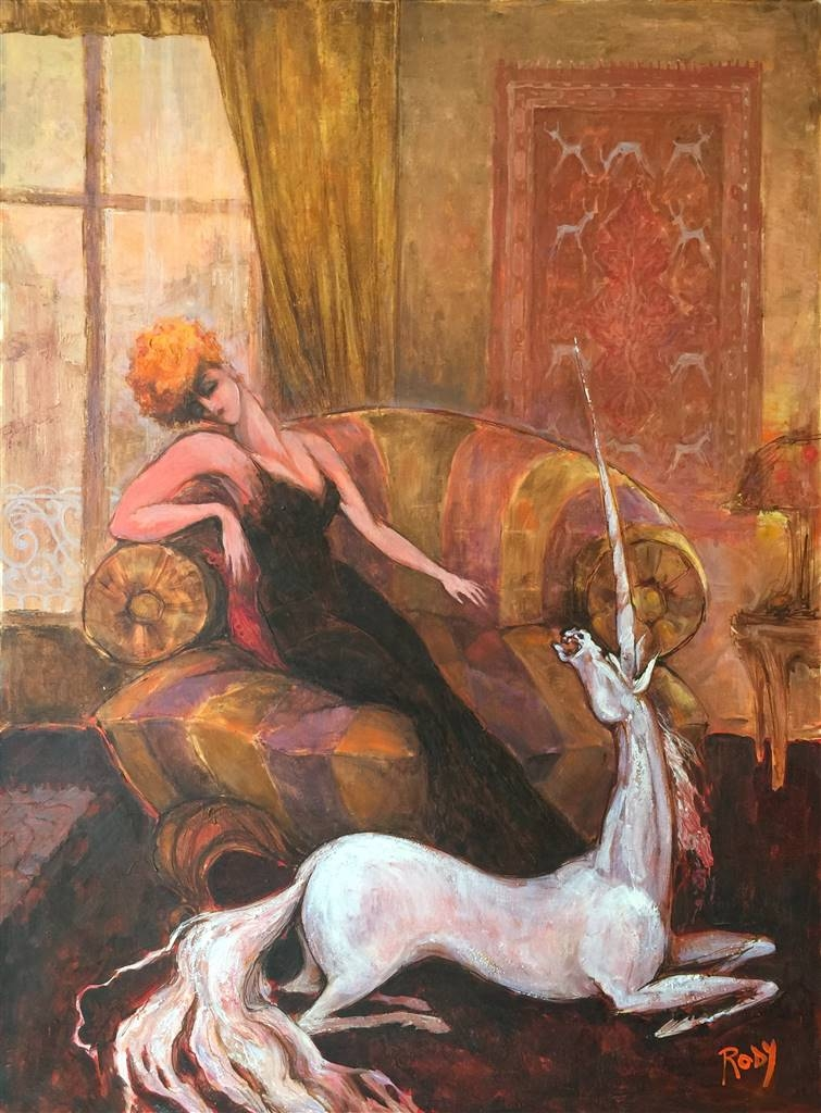 Rody,Lady with Unicorn,Oil on Canvas,36'' x 31.5'' image
