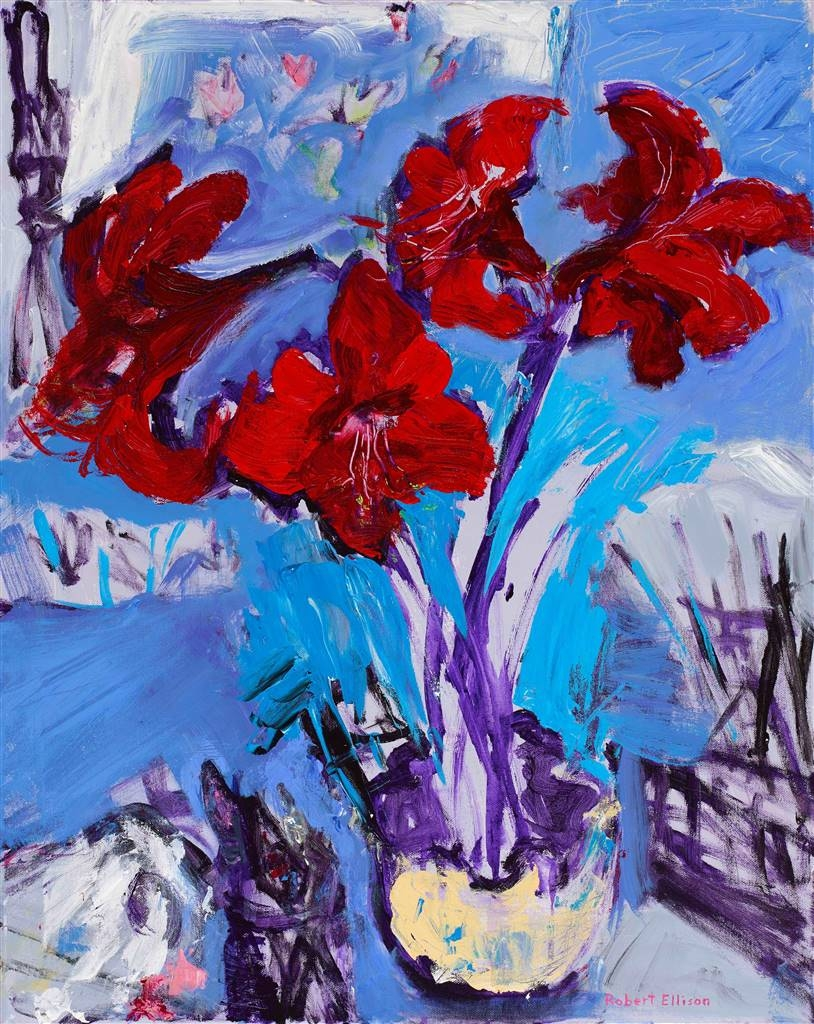 Robert Ellison,Red Amaryllis with Brushes and Knives,Acrylic on Canvas,30''x24'' image