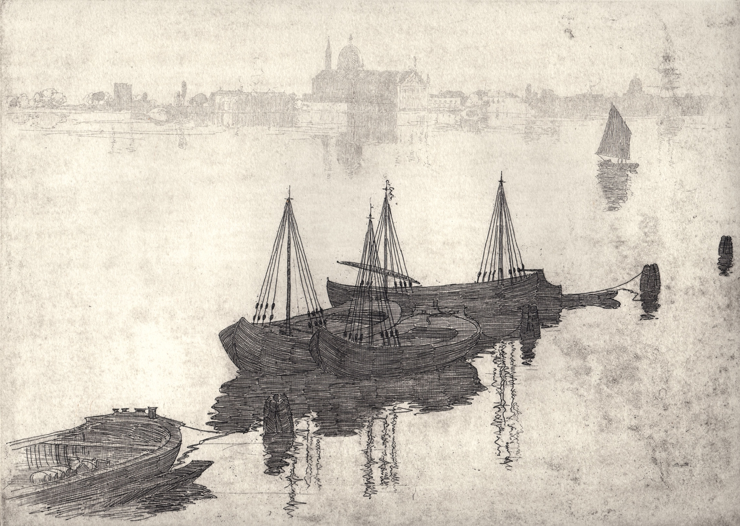 The Lagoon and Barges, Venice by Sir Arthur Streeton.  image