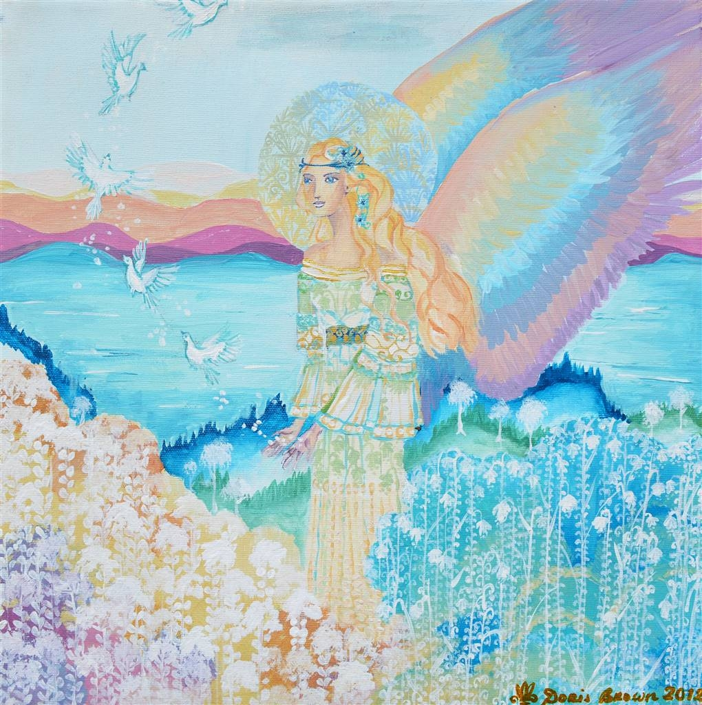 Doris Brown,The Rainbow Angel,Acrylic on Canvas,16''x16'' image