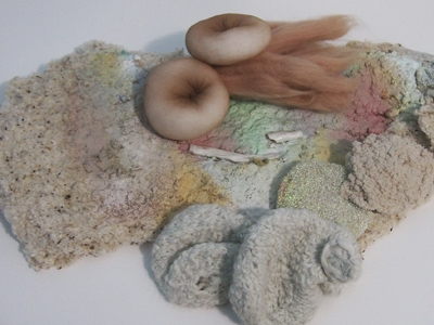 Kimberly Pace and Jessica Tan, Study for entanglements, 2016, coiled wool, nylon stocking, wadding, insulation blanket, oil paint, air dry clay, unfelted sponge, dimensions variable. Image courtesy the artists.  image