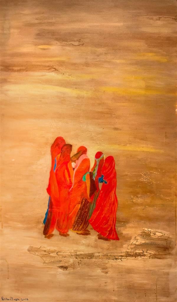 Fariba Baghi,Gathering Women,Acrylic on Canvas,60''x36'' image