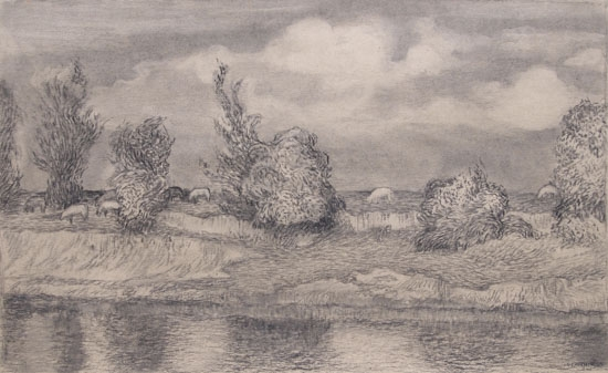 Rhone River, Charcoal on paper image