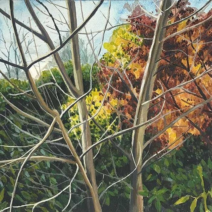 Waratah Lahy, 'Autumn Garden' 2017,  watercolour and gouache on aquabord, 10 x 10cm image