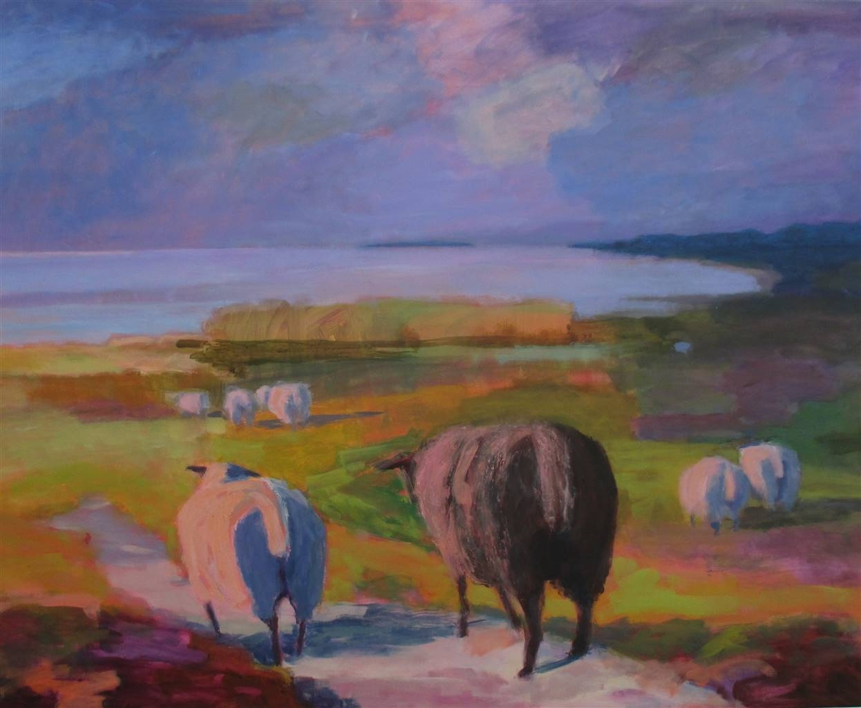 Margit Enggaard Poulsen, Sheep On The East Side, Fanoe, Acrylic on Canvas, 39.5'' x 49.5'' image