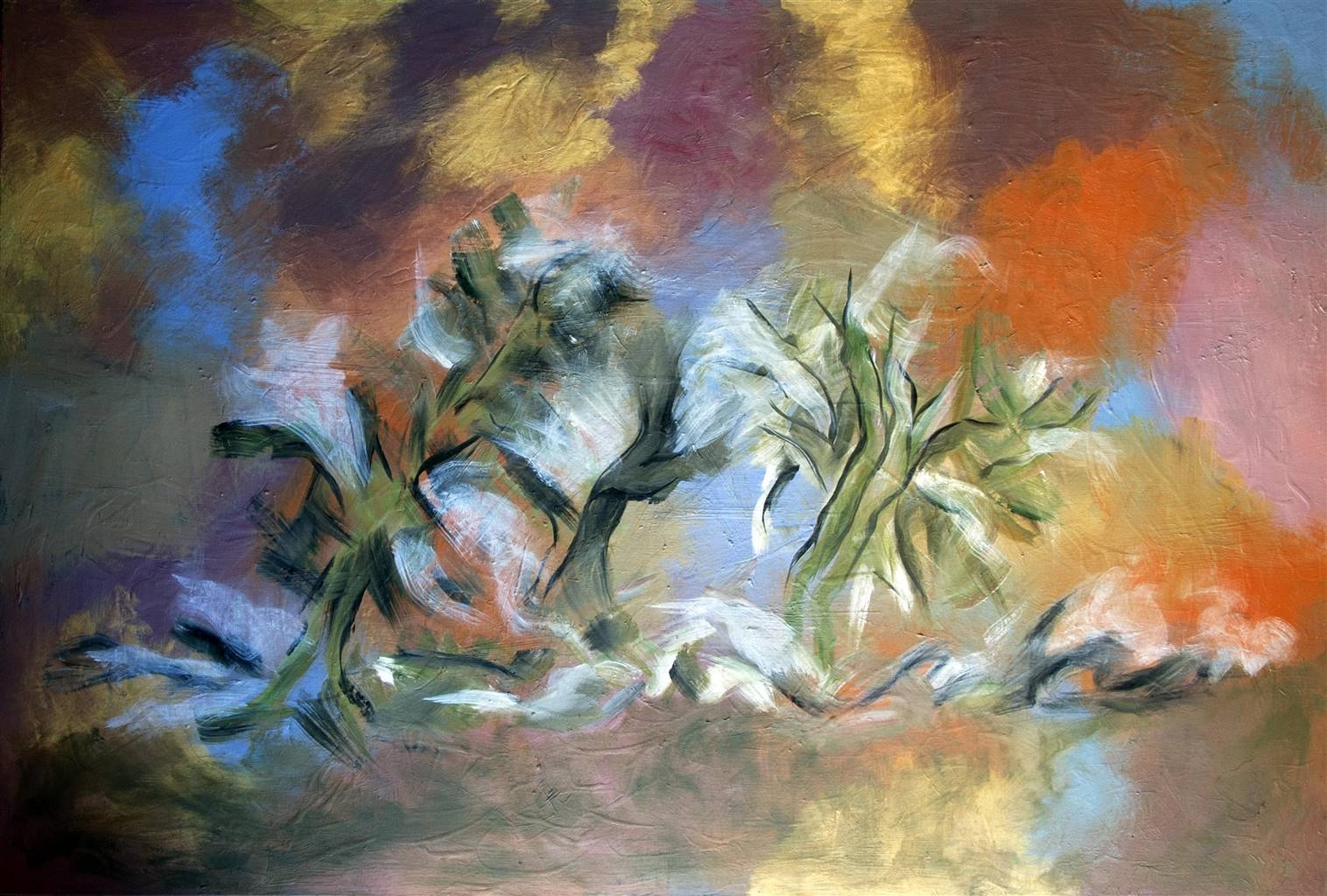 Maribel Matthews,Trees in the Mist, Oil on Canvas, 40'' x 54'' image