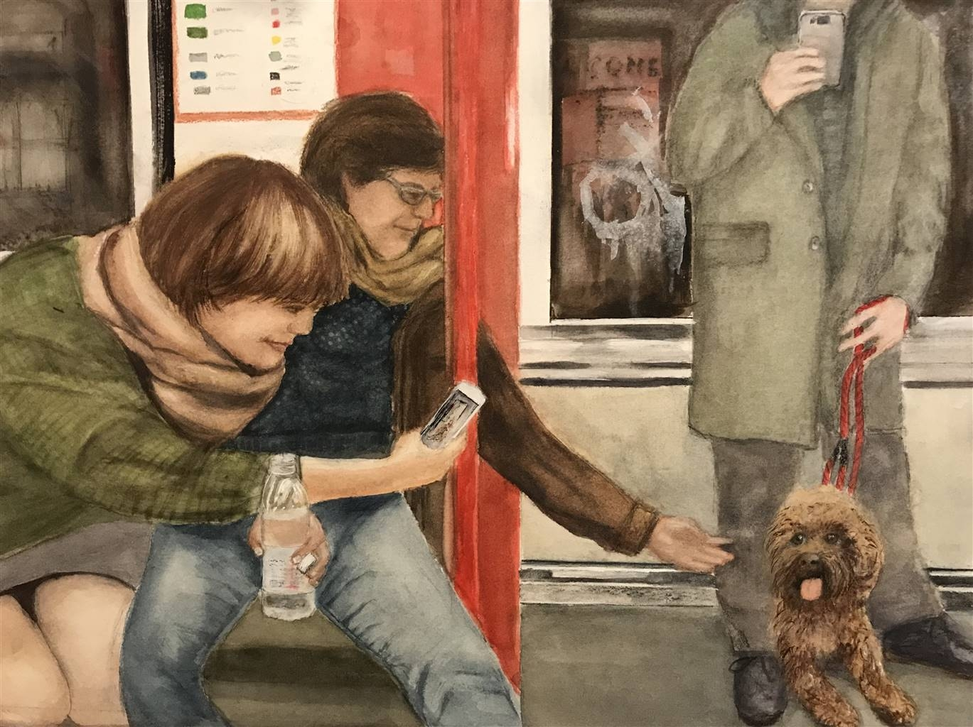 Nancy Holleran,Dog Paparazzi, Watercolor & Gouche on Arches, 12'' x 18'' image