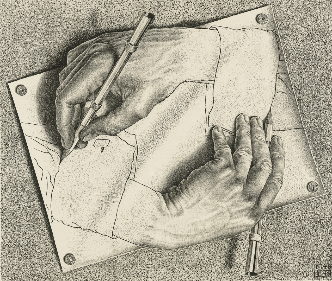 M.  C.  EscherDutch  1898–1972Drawing  handsJanuary  1948lithograph28.2  x  33.2  cm  (image)38.3  x  43.2  cm  (sheet)  Escher  Collection,  Gemeentemuseum  Den  Haag,  The  Hague,  the  Netherlands image