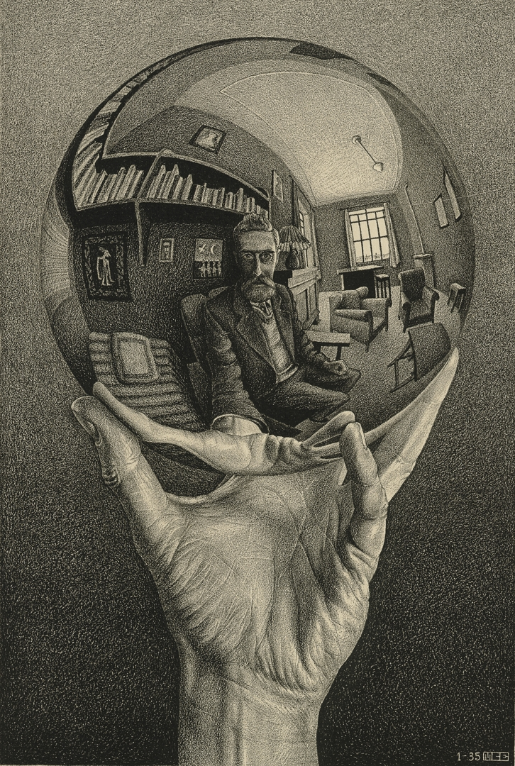 M.  C.  EscherDutch  1898–1972Relativity  July  1953wood  engraving28.2  x29.4  cm  (image)  32.4  x  32.4  cm  (sheet)Escher  Collection,  Gemeentemuseum  Den  Haag,  The  Hague,  the  Netherlands image
