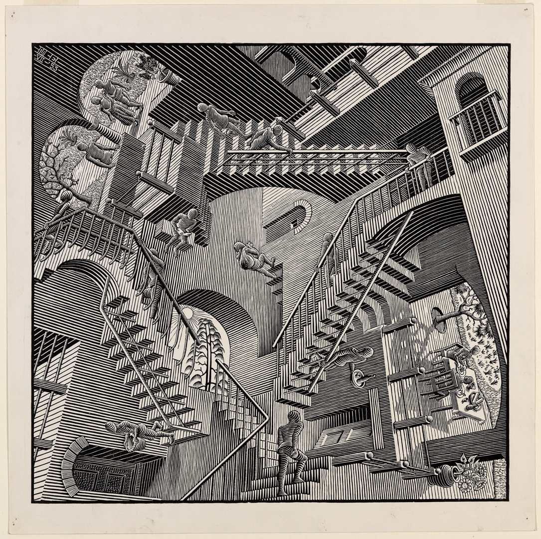 M.  C.  EscherDutch  1898–1972Relativity  July  195328.2  x  29.4  cm  (image)  32.4  x  32.4  cm  (sheet)Escher  Collection,  Gemeentemuseum  Den  Haag,  The  Hague,  the  Netherlands image