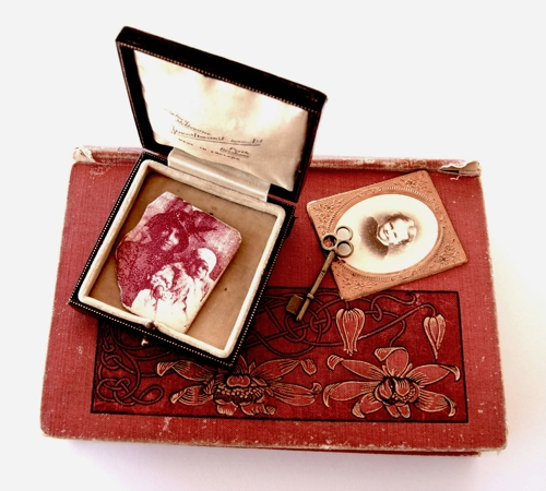 Kathy Aspinall, Mrs Stewart Dawson (detail), altered book containing a silk screened enamel on fine silver brooch  image