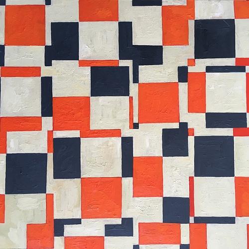 Al Munro, 'Disturbed Grid - orange grey' 2018, acrylic on birch panel, 20 x 20cm image