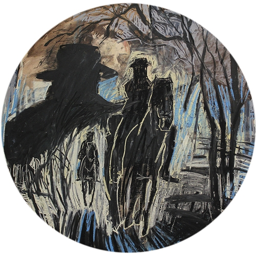 Todd Fuller, 'taking chase (With whom I was united by every tie)' 2018  chalk, acrylic and charcoal on timber, 60cm diameter  image